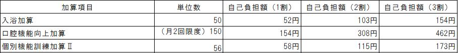 デイサービス加算料金表(要介護)